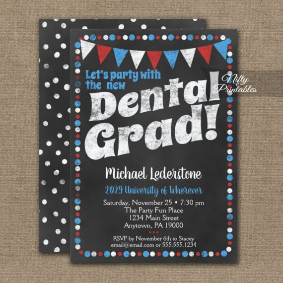 Dental Graduation Party Invitation Red Blue Chalkboard