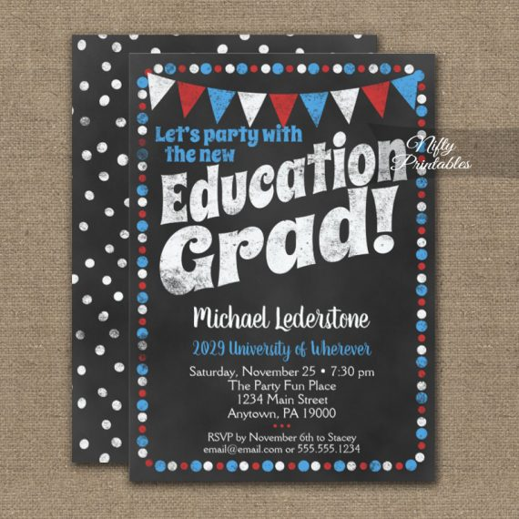 Education Graduation Party Invitation Red Blue Chalkboard