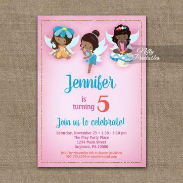 Birthday Invitation Fairies African American PRINTED