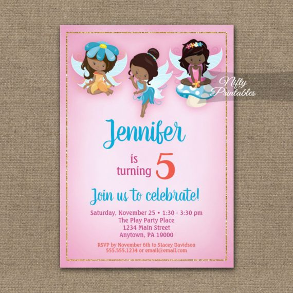 Birthday Invitation Fairies African American PRINTED