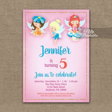 Birthday Invitations Fairies PRINTED
