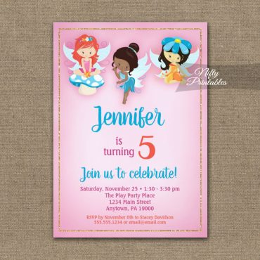 Birthday Invitations Fairies Ethnic PRINTED