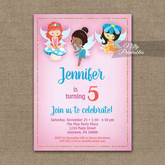 Birthday Invitation Fairies Ethnic PRINTED