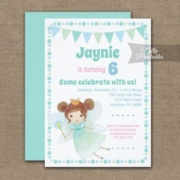 Birthday Invitation Fairy Brunette PRINTED