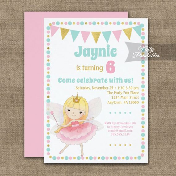 Birthday Invitation Fairy Blonde PRINTED