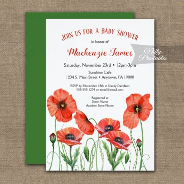 Baby Shower Invitations Poppies Floral PRINTED