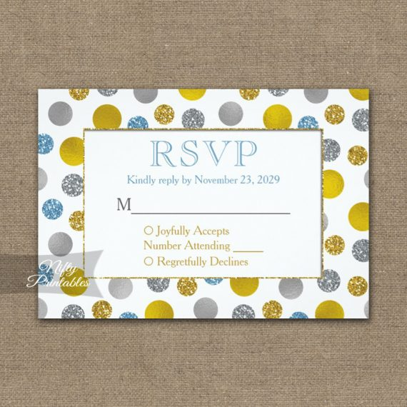 Gold Silver Blue Dots RSVP Card Wedding Response PRINTED
