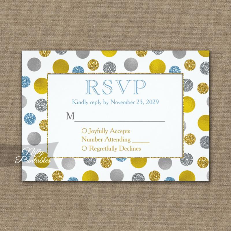 Gold Silver Blue Dots RSVP Card Wedding Response PRINTED
