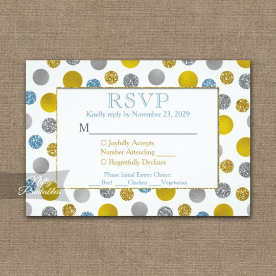 Gold Silver Blue Dots RSVP Card w/ Meal Choices PRINTED