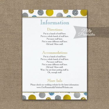 Gold Silver Blue Dots Wedding Details Info Card PRINTED