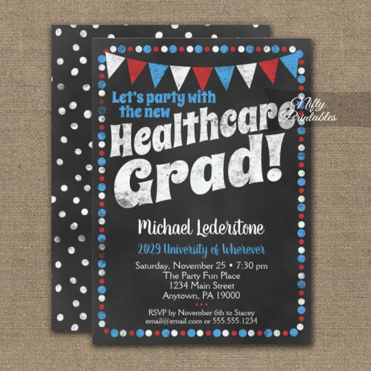 Healthcare Graduation Party Invitations Red Blue Chalkboard