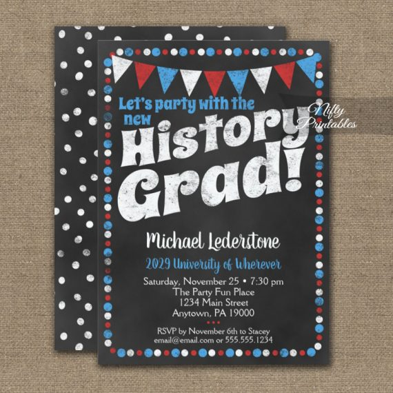 History Graduation Party Invitation Red Blue Chalkboard