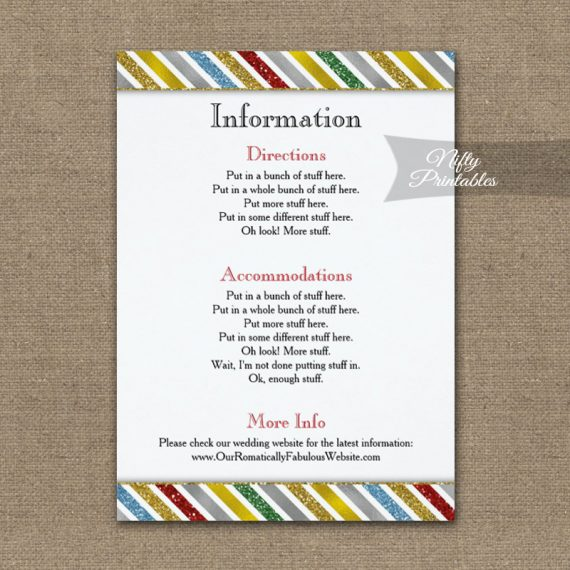 Holiday Stripes Wedding Details Info Card PRINTED