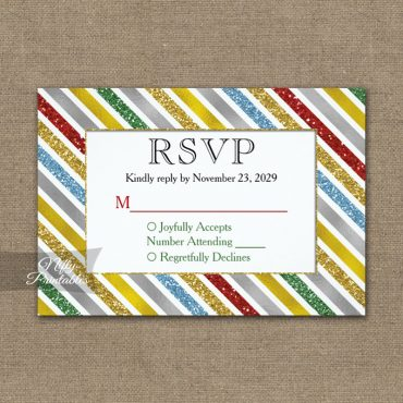Holiday Stripes RSVP Card Wedding Response PRINTED