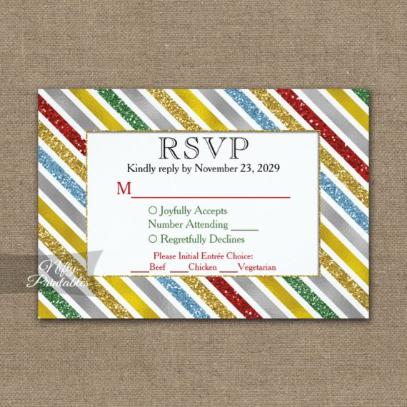 Holiday Stripes RSVP Card w/ Meal Choices PRINTED
