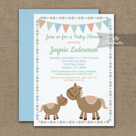 Baby Shower Invitation Horses Boy Blue PRINTED