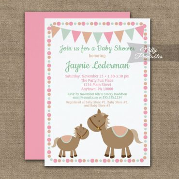 Baby Shower Invitation Horses Girl Pink PRINTED