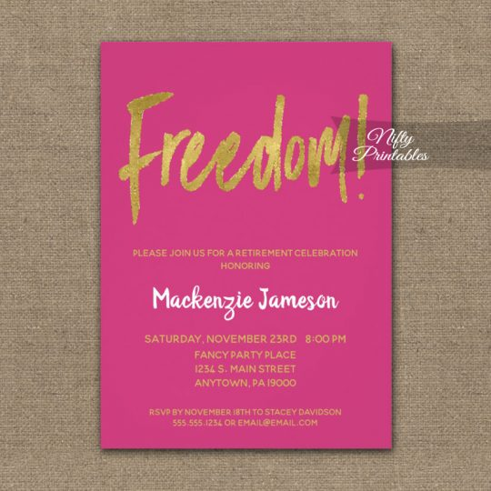 Freedom Retirement Invitations Hot Pink Gold Script PRINTED
