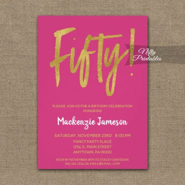 50th Birthday Invitations Hot Pink Gold Script PRINTED