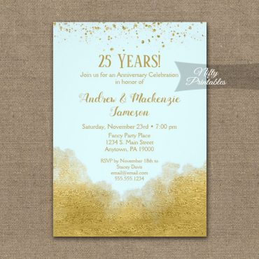Anniversary Invitation Gold Confetti Glam Ice Blue PRINTED