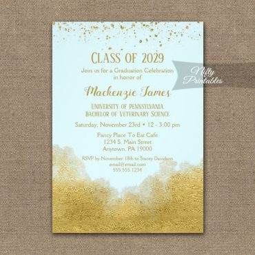 Graduation Party Invitations Gold Confetti Glam Ice Blue PRINTED
