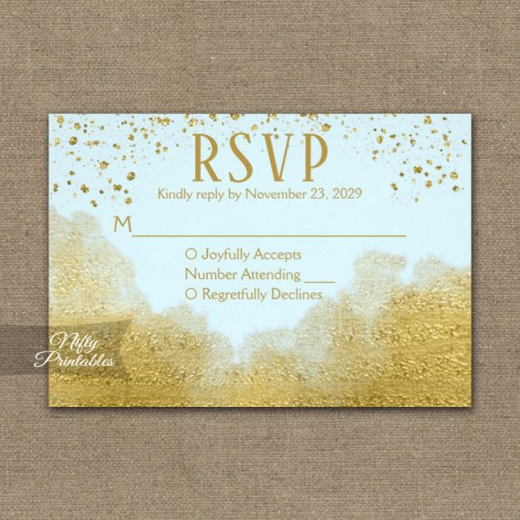 Gold Confetti Glam Ice Blue RSVP Card Wedding Response PRINTED