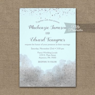Wedding Invitation Silver Confetti Glam Ice Blue PRINTED