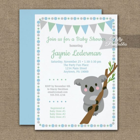 Baby Shower Invitation Koala Bear Blue Boy PRINTED