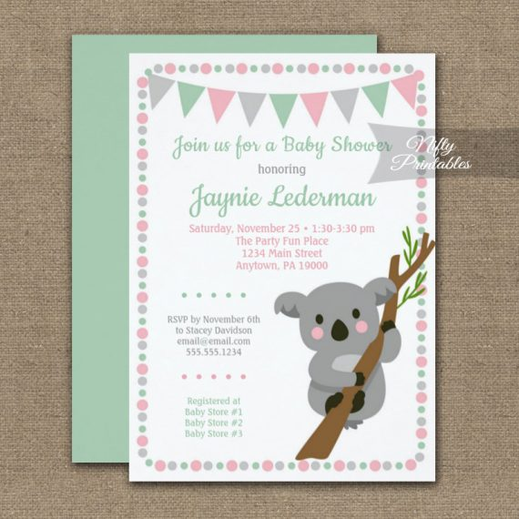 Baby Shower Invitation Koala Bear Pink Girl PRINTED