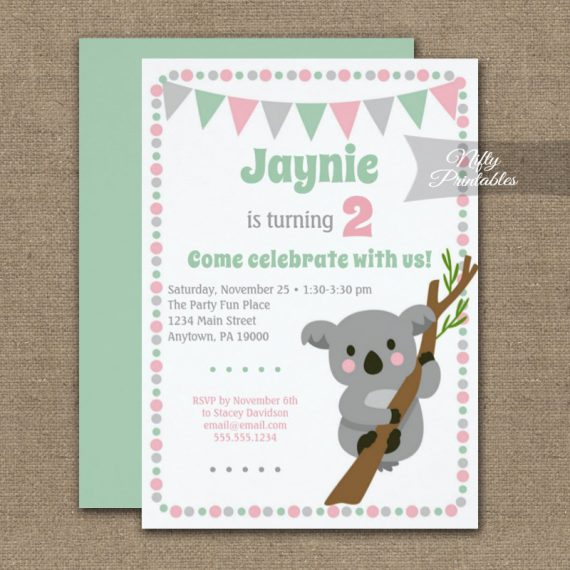 Birthday Invitation Koala Bear Girl PRINTED