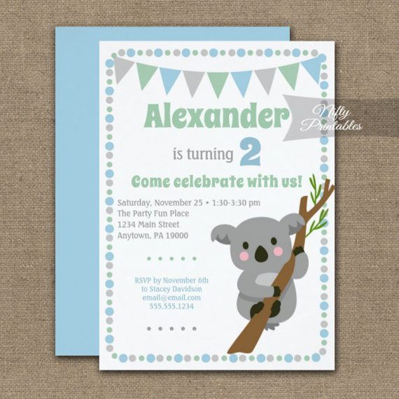 Birthday Invitation Koala Bear Boy PRINTED