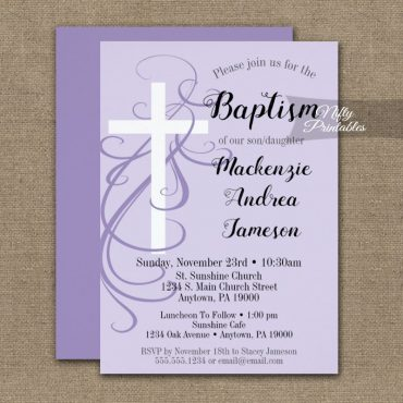 Baptism Invitation Lavender Swirly Cross PRINTED