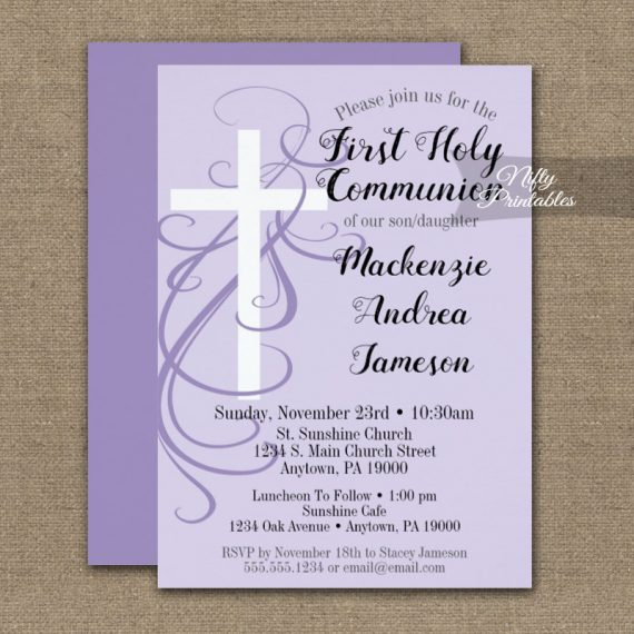 First Holy Communion Invitation Lavender Swirly Cross PRINTED