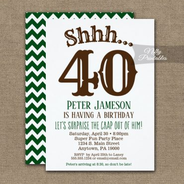 Surprise Birthday Party Invitation Funny Chevron Brown Green PRINTED