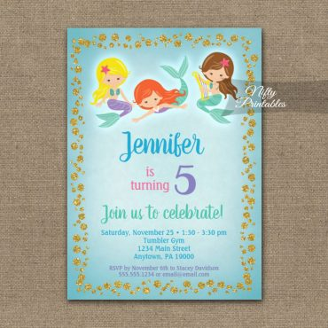 Birthday Invitation Mermaid Trio PRINTED