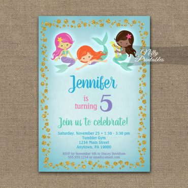 Birthday Invitation Mermaids Ethnic PRINTED