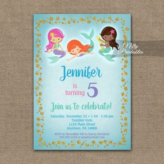 Birthday Invitation Mermaids Ethnic PRINTED