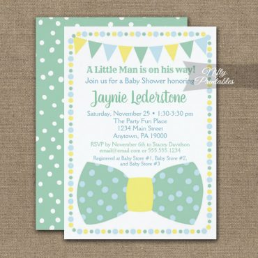 Baby Shower Invitation Mint Blue Yellow Little Gentleman Bow Tie PRINTED