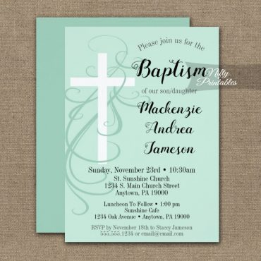 Baptism Invitation Mint Green Swirly Cross PRINTED
