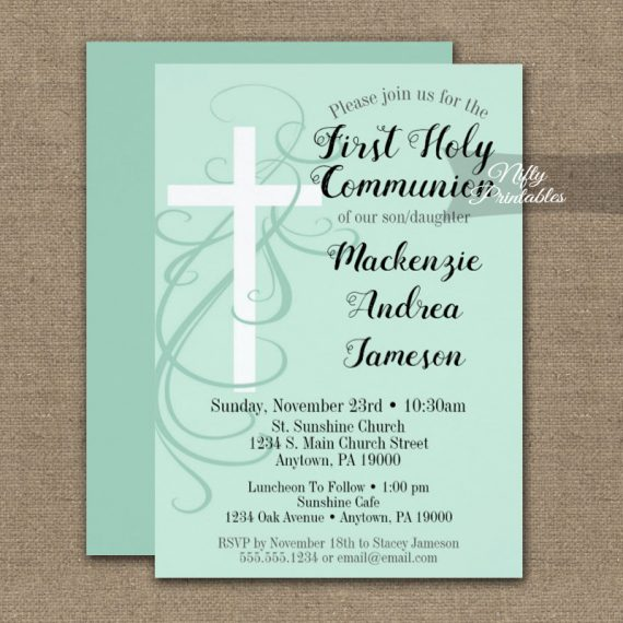 First Holy Communion Invitation Mint Green Swirly Cross PRINTED