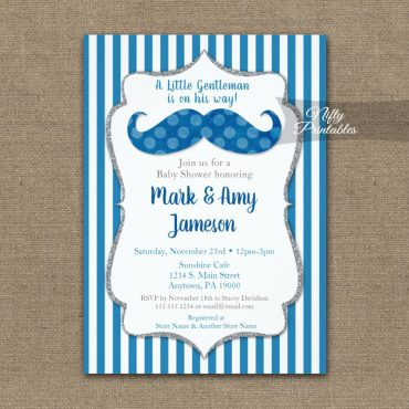 Baby Shower Invitations Mustache Blue Stripe PRINTED