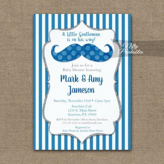 Baby Shower Invitation Mustache Blue Stripe PRINTED