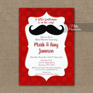 Baby Shower Invitations Mustache Red Dots PRINTED