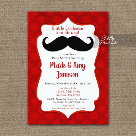 Baby Shower Invitation Mustache Red Dots PRINTED
