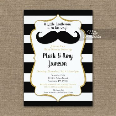 Baby Shower Invitations Mustache Horizontal Stripe PRINTED