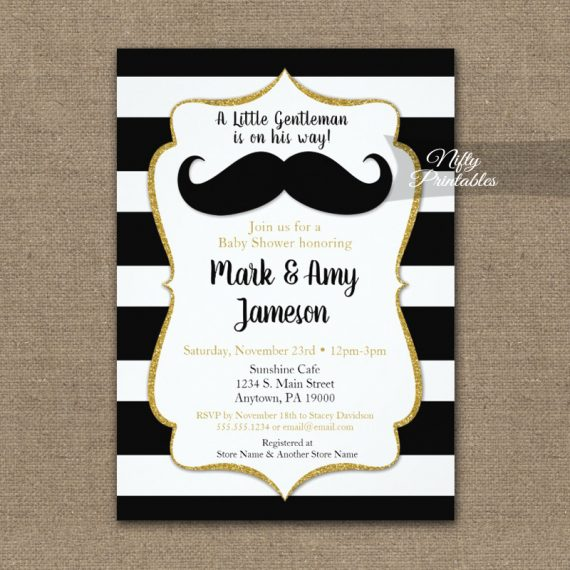 Baby Shower Invitation Mustache Horizontal Stripe PRINTED