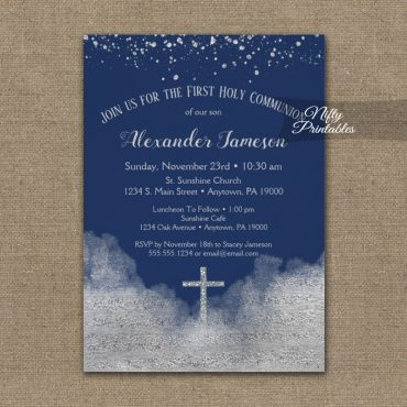 First Holy Communion Invitation Silver Confetti Glam Navy Blue PRINTED