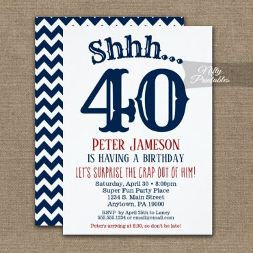 Mens Surprise Birthday Party Invitation Funny Chevron Navy Blue White PRINTED