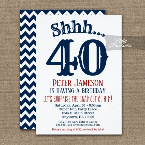 Surprise Birthday Party Invitation Funny Chevron Navy Blue White PRINTED