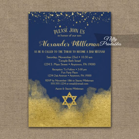 Bar Mitzvah Invitation Gold Confetti Glam Navy Blue PRINTED